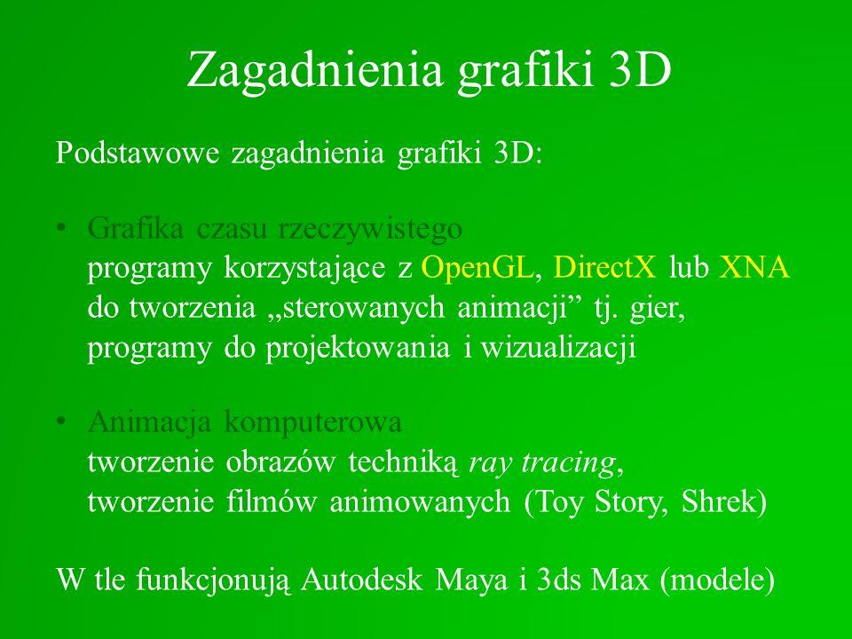 Zagadnienia grafiki 3D Podstawowe zagadnienia grafiki 3D: