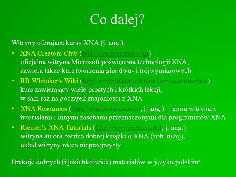Co dalej Witryny oferujące kursy XNA (j. ang.):