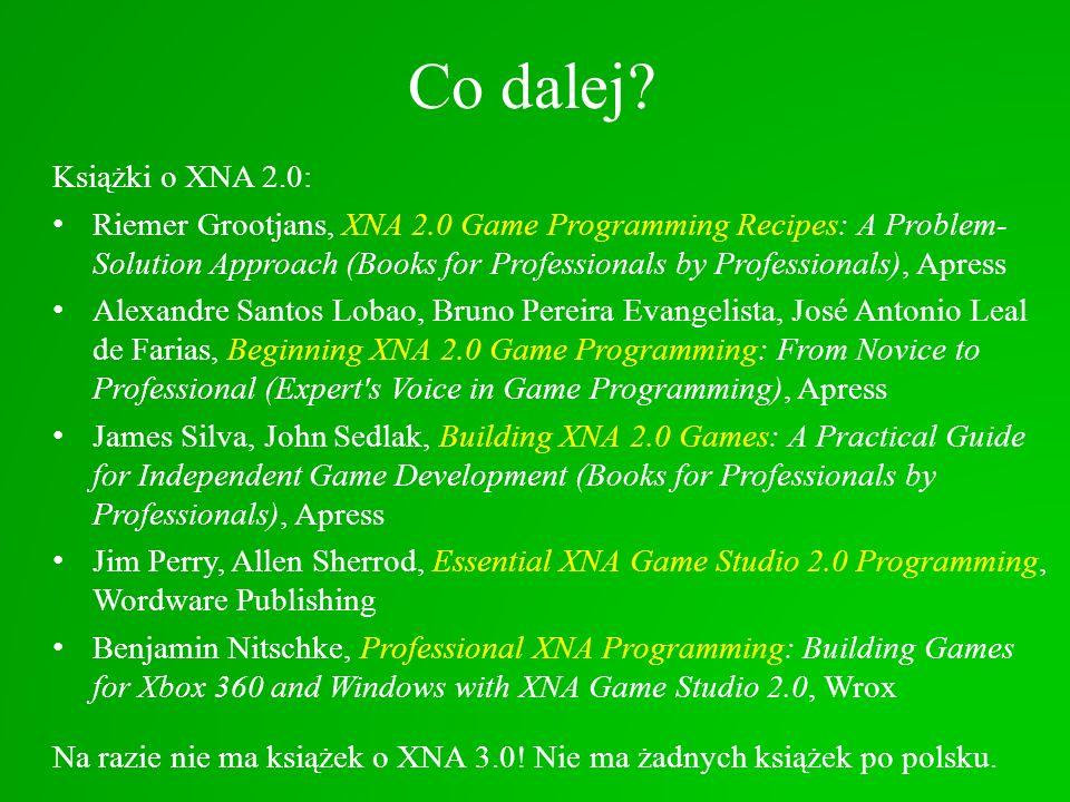 Co dalej Książki o XNA 2.0: