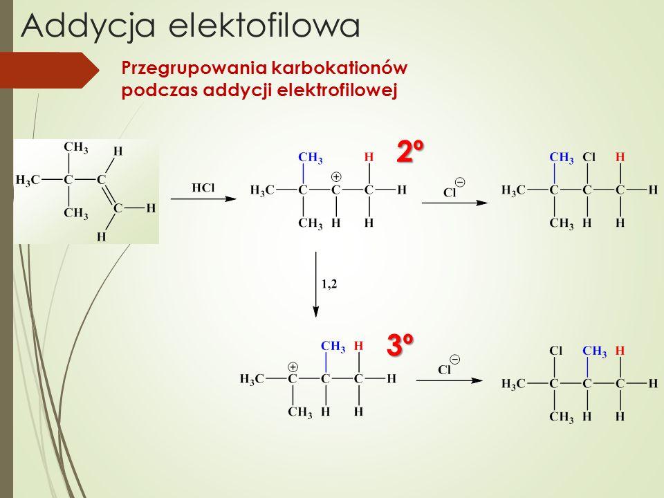 Addycja elektofilowa 2º 3º Przegrupowania karbokationów