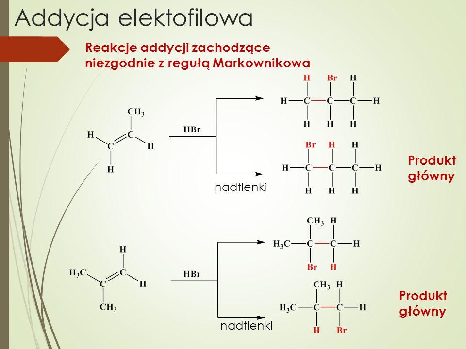 Addycja elektofilowa Reakcje addycji zachodzące niezgodnie z regułą Markownikowa. Produkt główny.