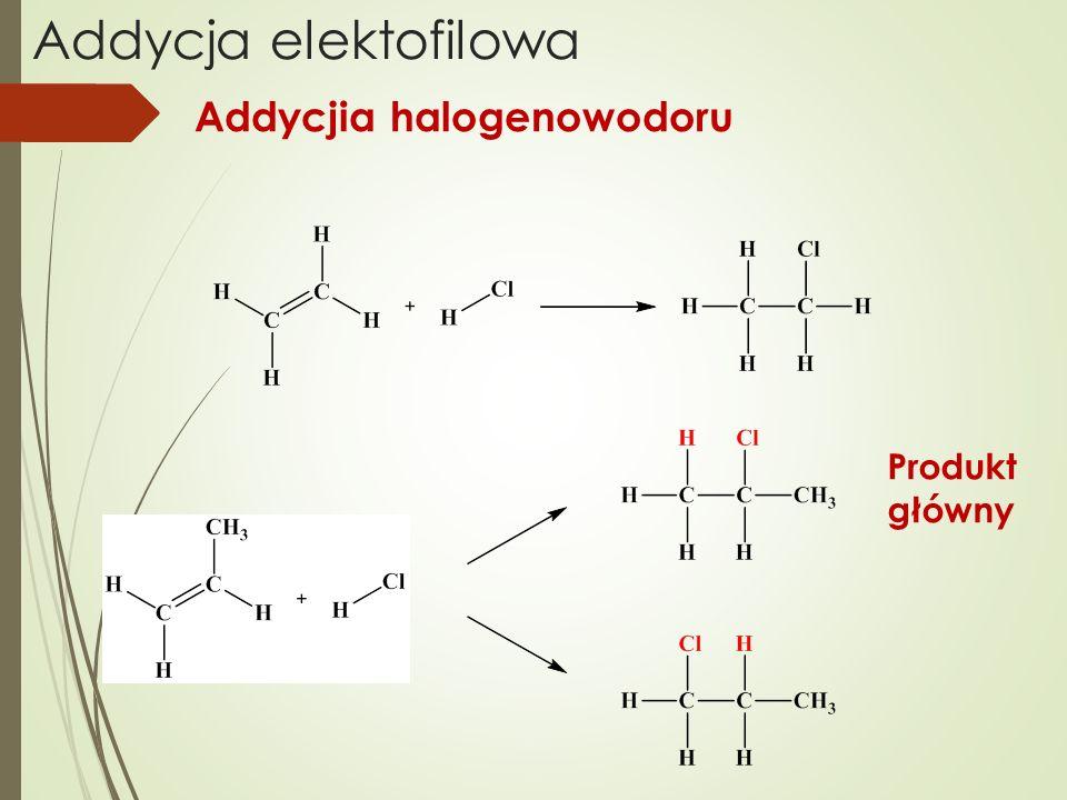 Addycja elektofilowa Addycjia halogenowodoru Produkt główny