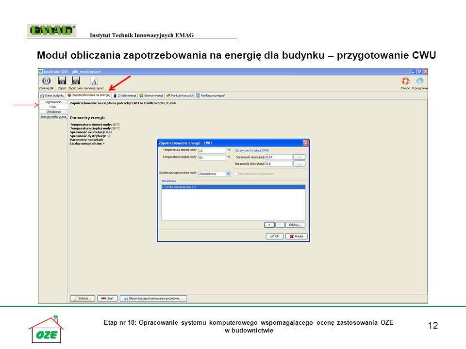 Moduł obliczania zapotrzebowania na energię dla budynku – przygotowanie CWU