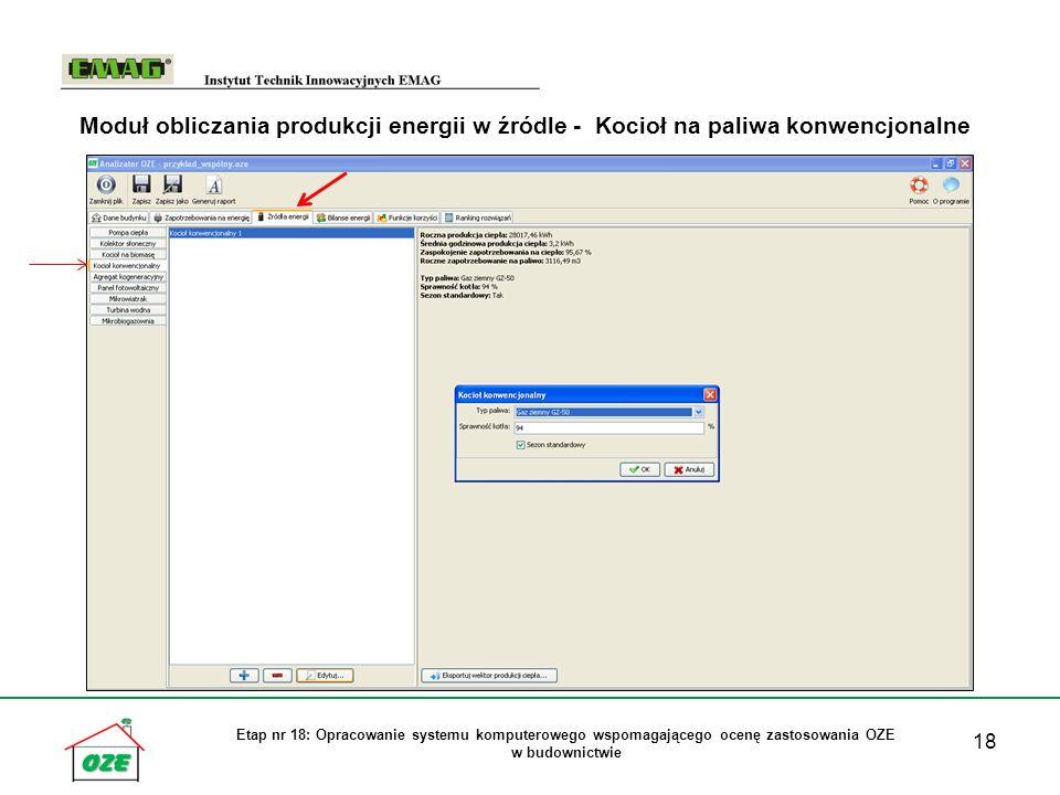 Moduł obliczania produkcji energii w źródle - Kocioł na paliwa konwencjonalne