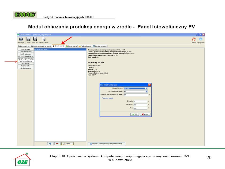 Moduł obliczania produkcji energii w źródle - Panel fotowoltaiczny PV