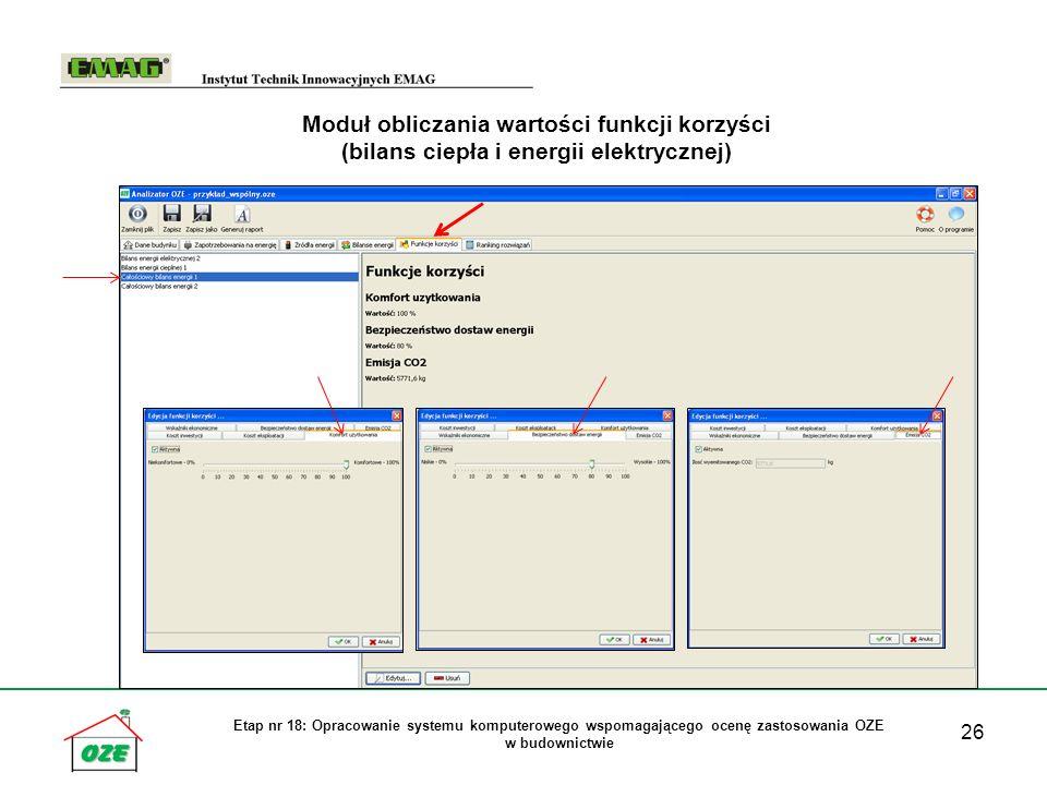 Moduł obliczania wartości funkcji korzyści (bilans ciepła i energii elektrycznej)