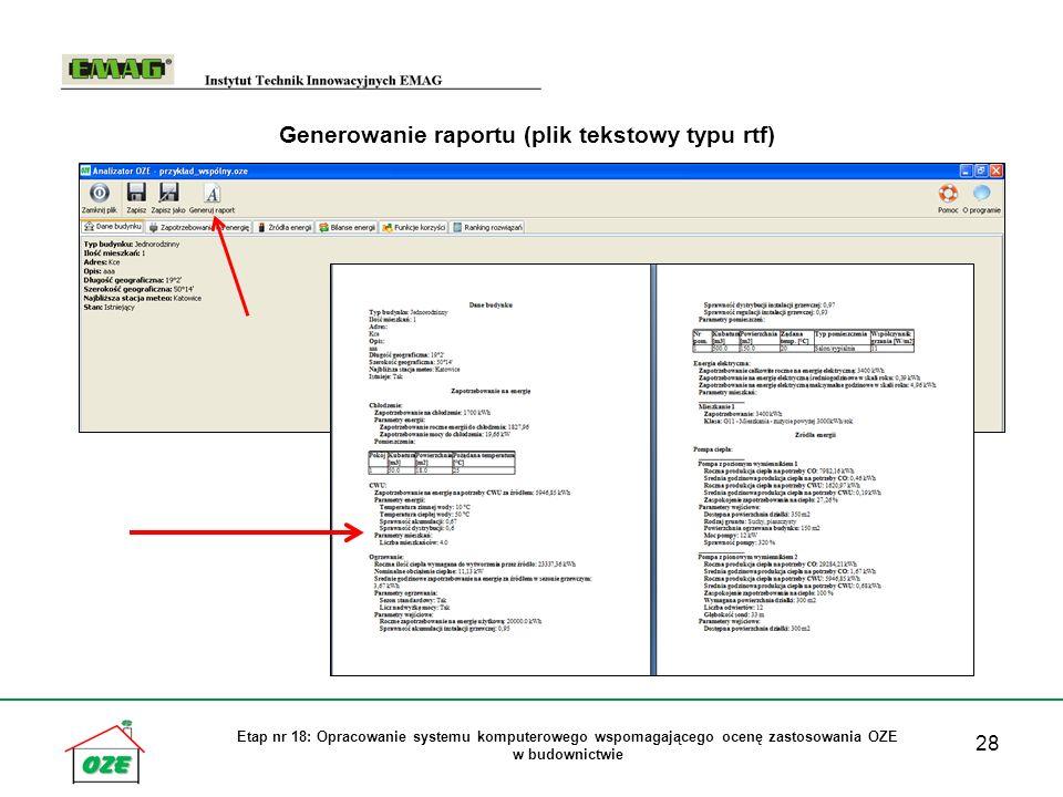 Generowanie raportu (plik tekstowy typu rtf)
