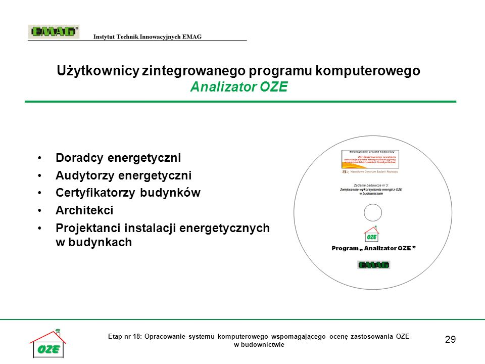 Użytkownicy zintegrowanego programu komputerowego Analizator OZE