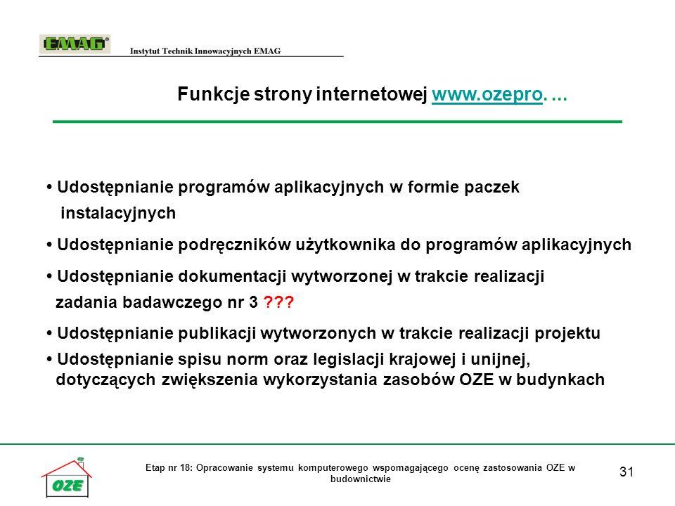 Funkcje strony internetowej www.ozepro. ...