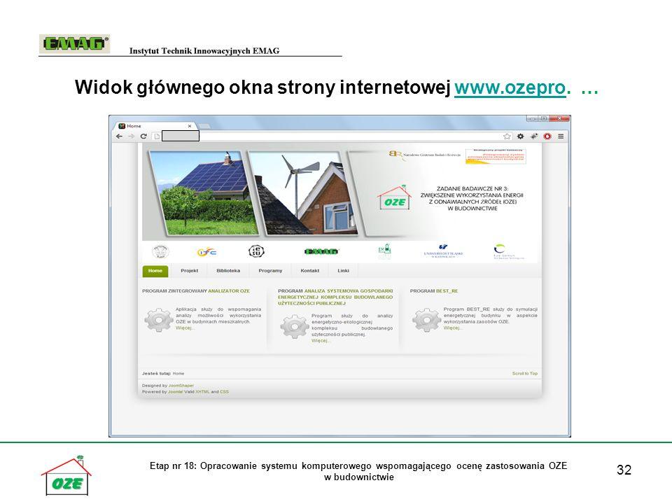 Widok głównego okna strony internetowej www.ozepro. …