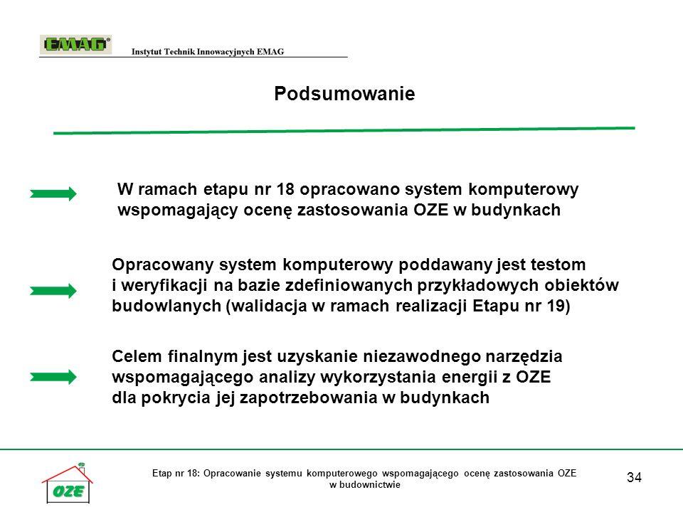 Podsumowanie W ramach etapu nr 18 opracowano system komputerowy wspomagający ocenę zastosowania OZE w budynkach.