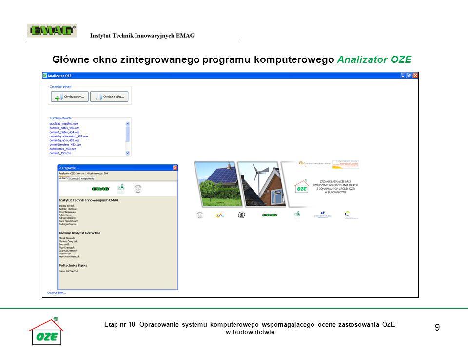 Główne okno zintegrowanego programu komputerowego Analizator OZE