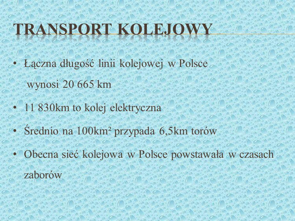 Transport kolejowy Łączna długość linii kolejowej w Polsce wynosi 20 665 km. 11 830km to kolej elektryczna.