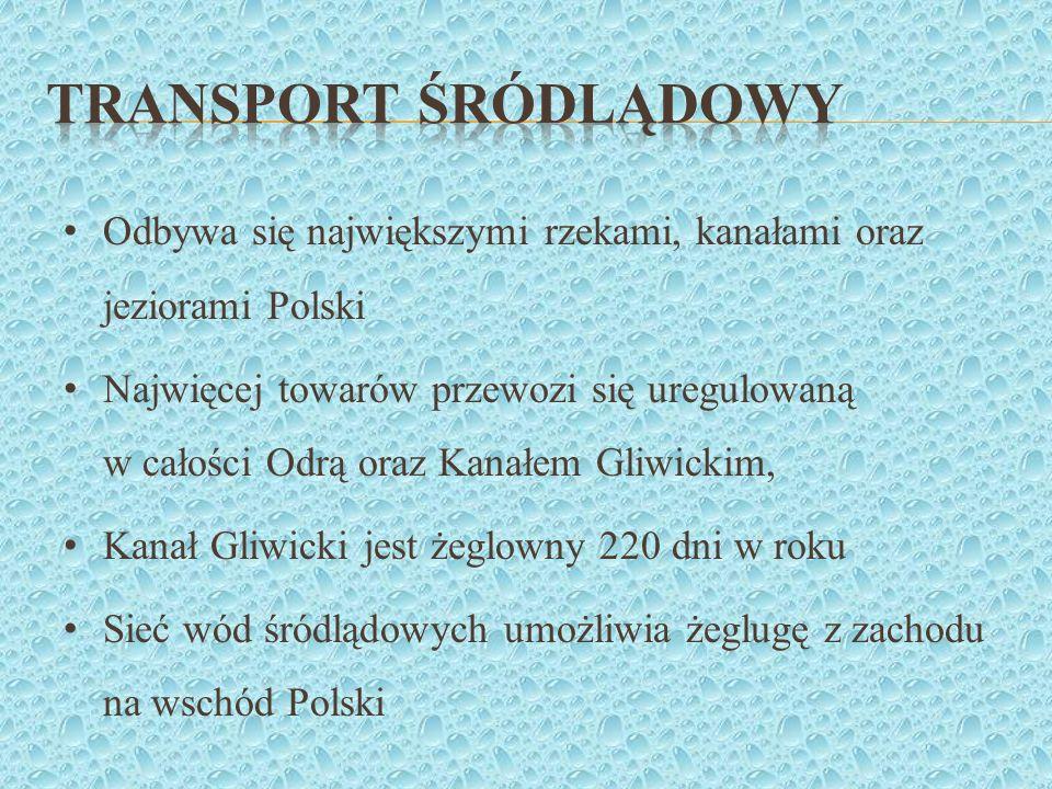 Transport śródlądowy Odbywa się największymi rzekami, kanałami oraz jeziorami Polski.