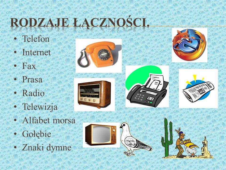 Rodzaje łączności. Telefon Internet Fax Prasa Radio Telewizja
