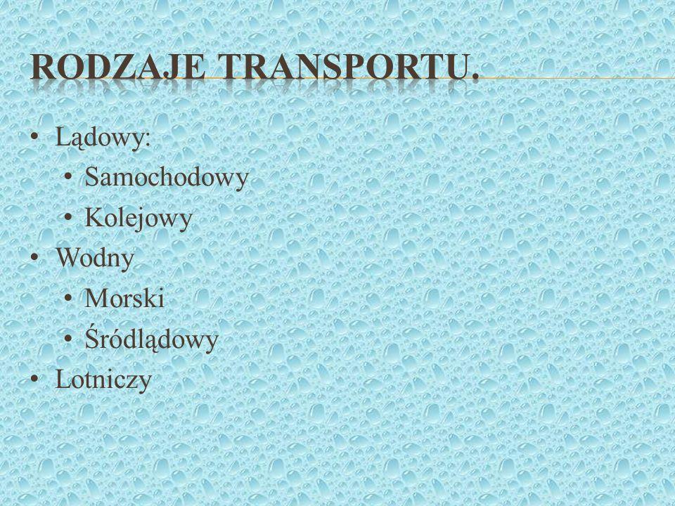 Rodzaje transportu. Lądowy: Samochodowy Kolejowy Wodny Morski