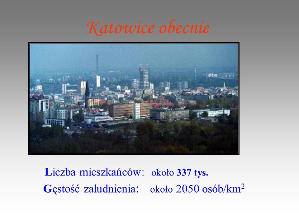 Katowice obecnie Liczba mieszkańców: około 337 tys.