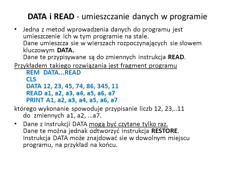 DATA i READ - umieszczanie danych w programie