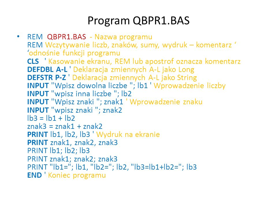Program QBPR1.BAS