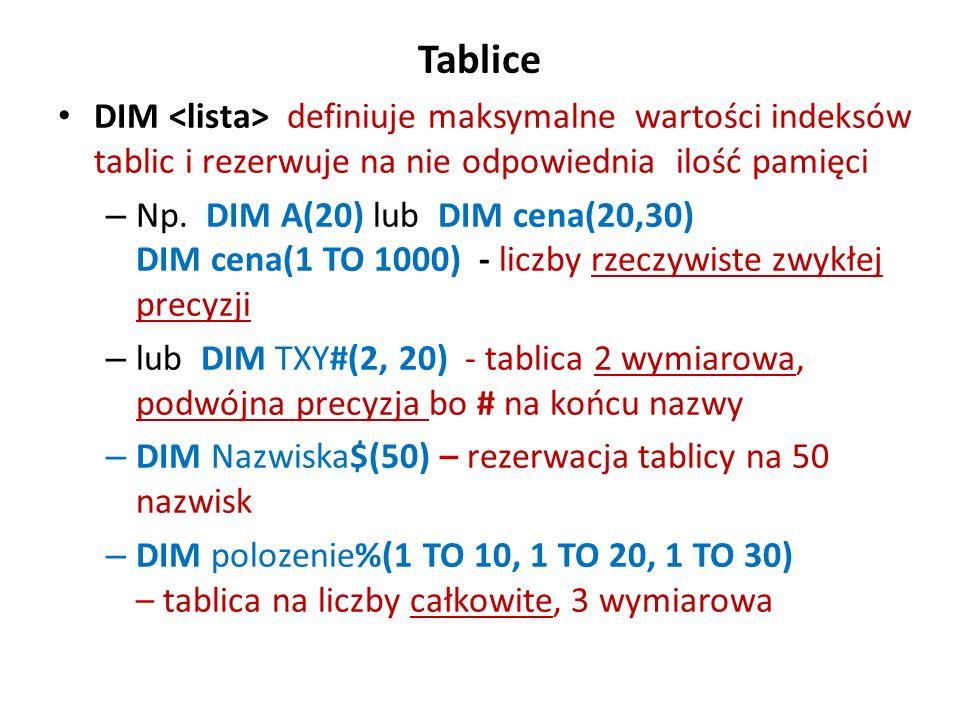Tablice DIM <lista> definiuje maksymalne wartości indeksów tablic i rezerwuje na nie odpowiednia ilość pamięci.