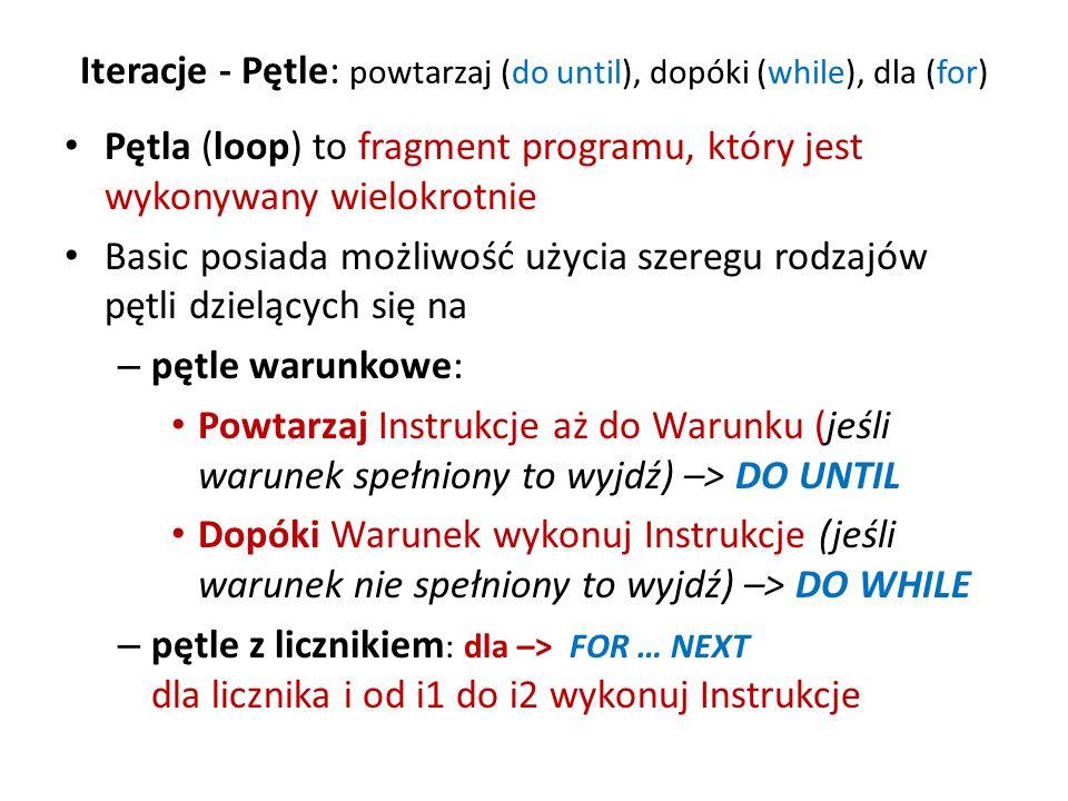 Iteracje - Pętle: powtarzaj (do until), dopóki (while), dla (for)