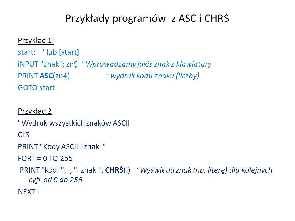Przykłady programów z ASC i CHR$