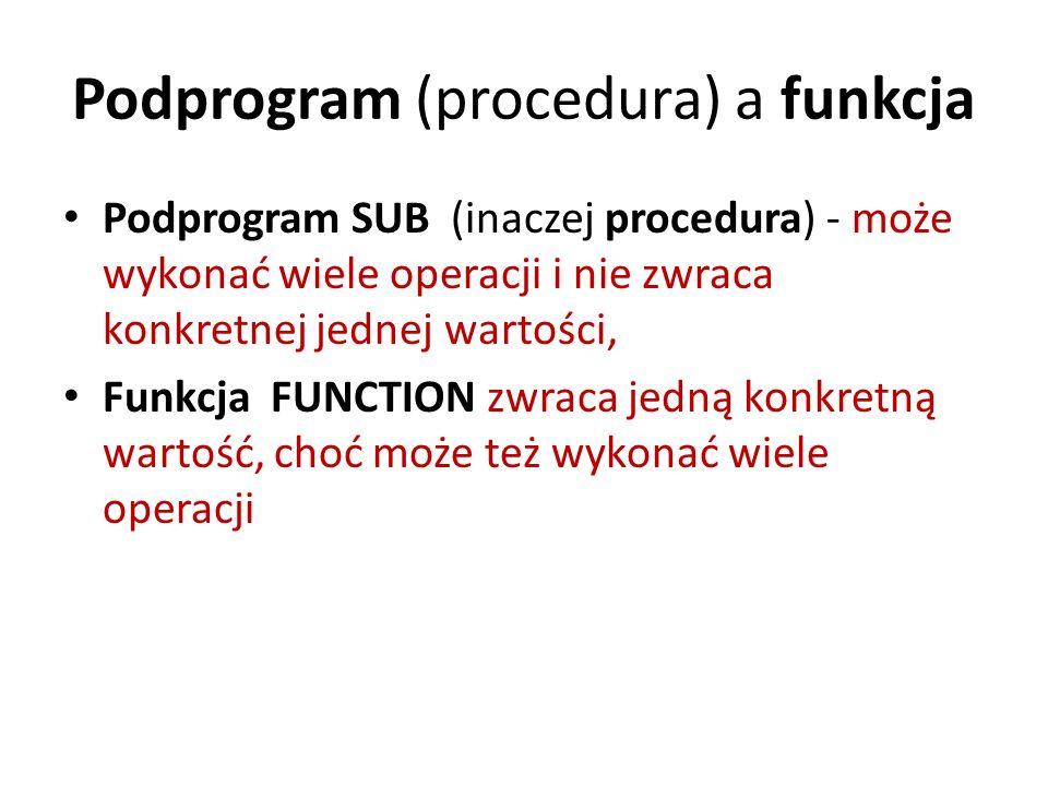 Podprogram (procedura) a funkcja