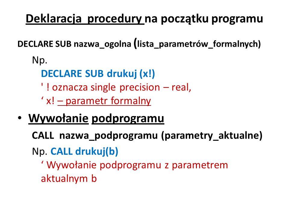Deklaracja procedury na początku programu