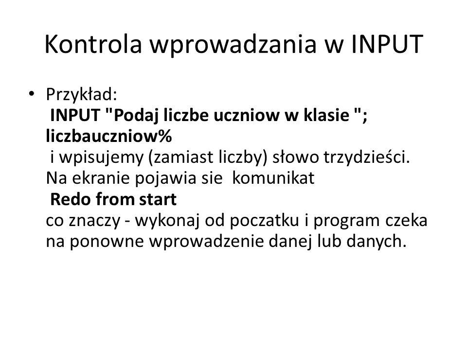 Kontrola wprowadzania w INPUT