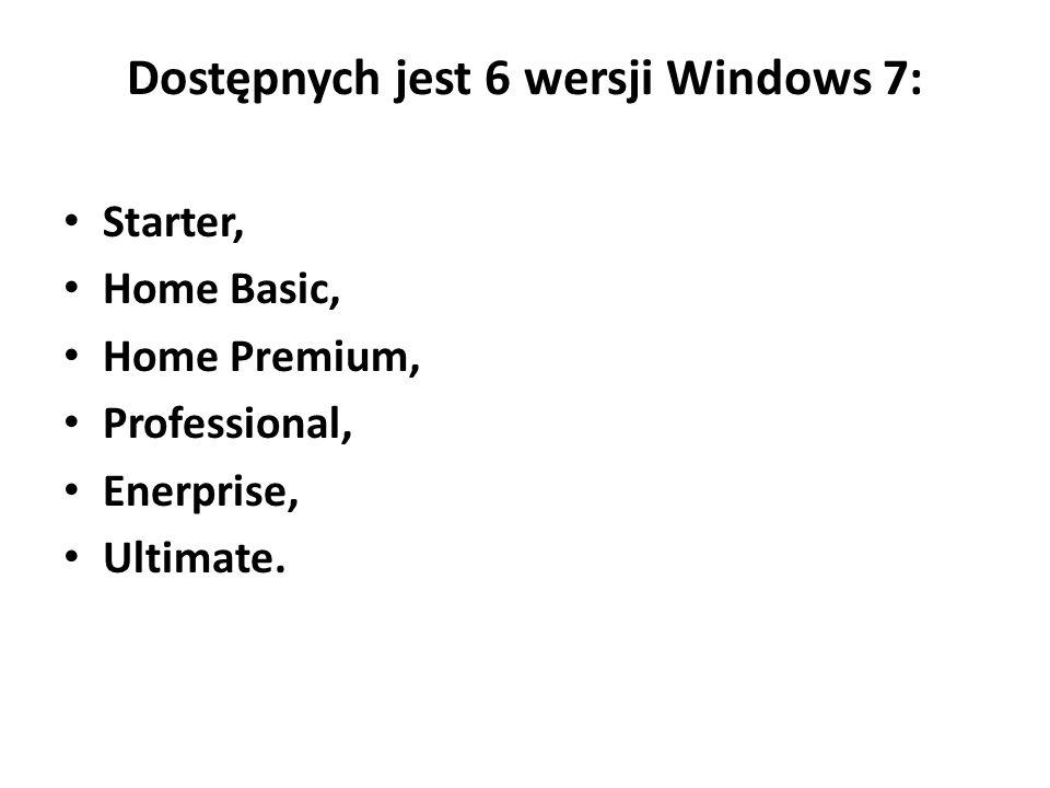 Dostępnych jest 6 wersji Windows 7: