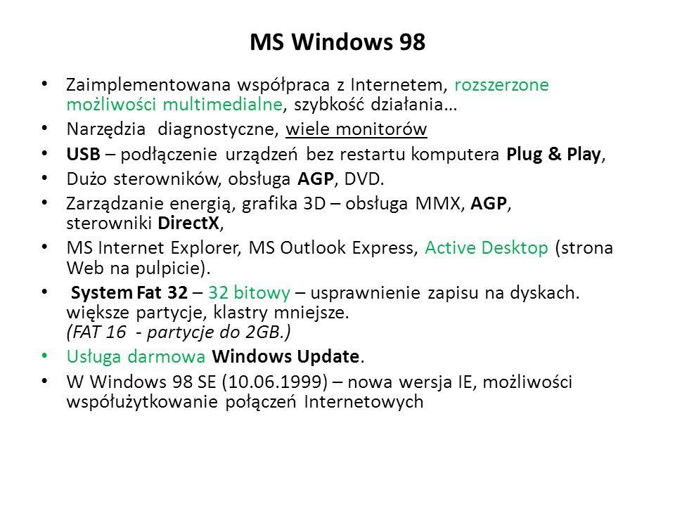 MS Windows 98 Zaimplementowana współpraca z Internetem, rozszerzone możliwości multimedialne, szybkość działania…