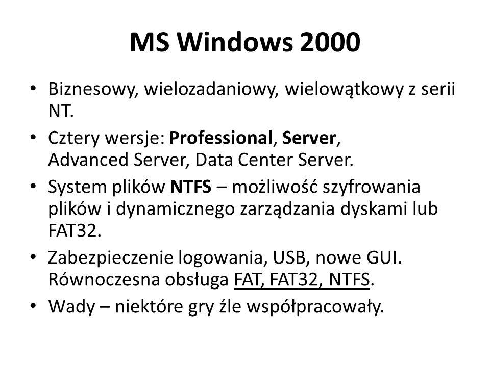 MS Windows 2000 Biznesowy, wielozadaniowy, wielowątkowy z serii NT.