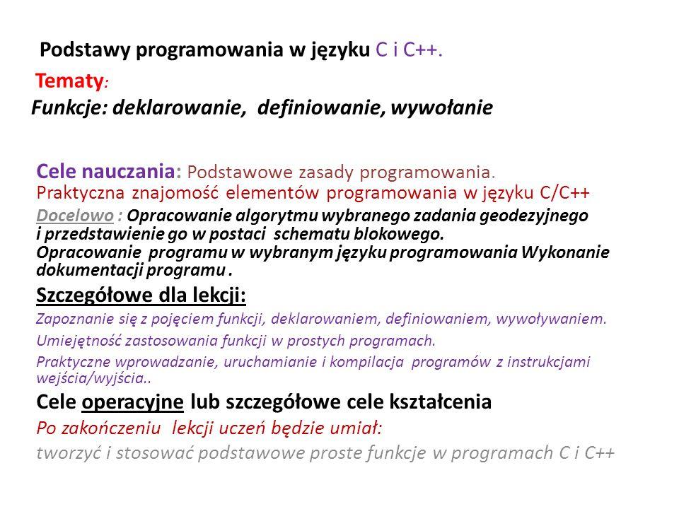 Podstawy programowania w języku C i C++