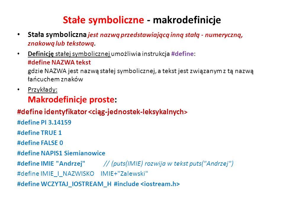 Stałe symboliczne - makrodefinicje