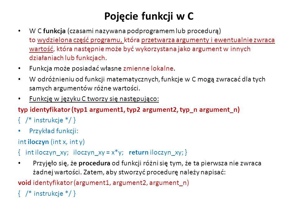 Pojęcie funkcji w C