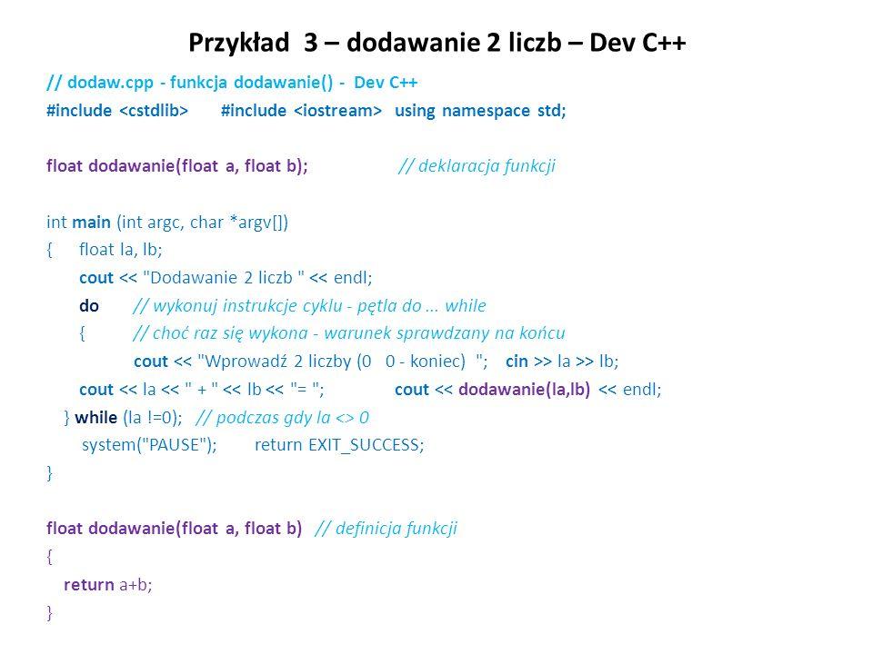 Przykład 3 – dodawanie 2 liczb – Dev C++