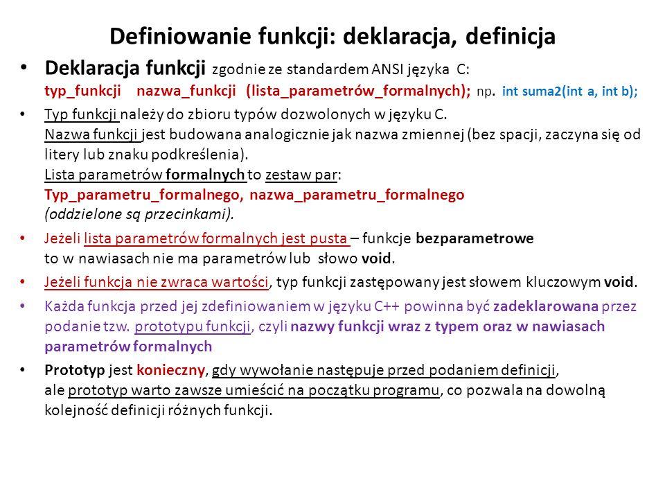 Definiowanie funkcji: deklaracja, definicja