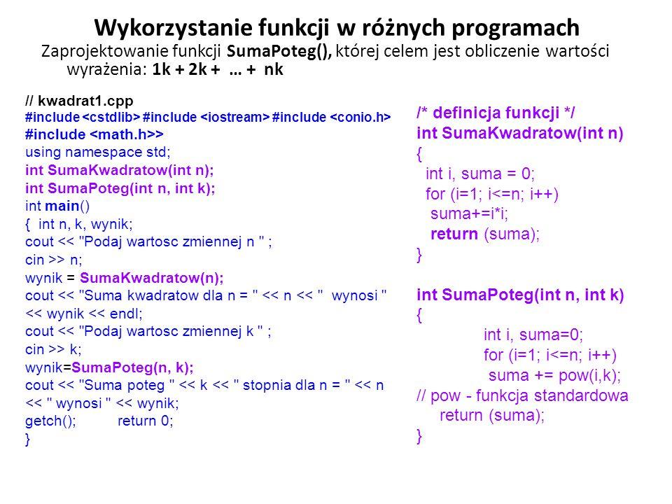 Wykorzystanie funkcji w różnych programach