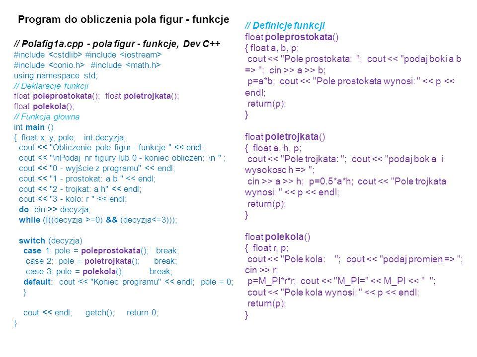Program do obliczenia pola figur - funkcje