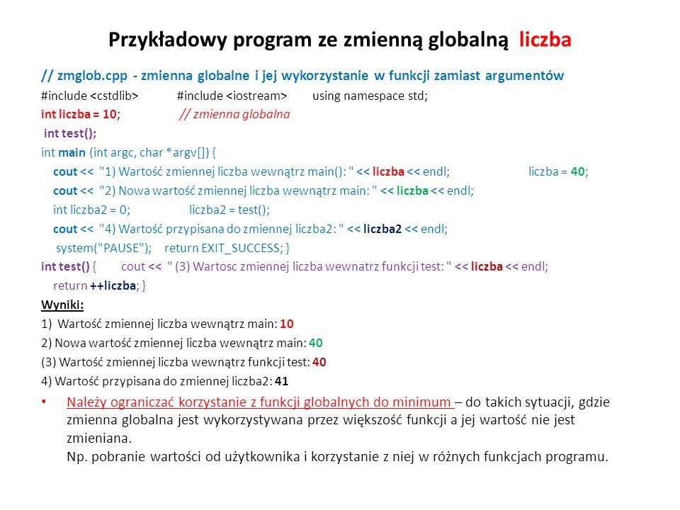 Przykładowy program ze zmienną globalną liczba