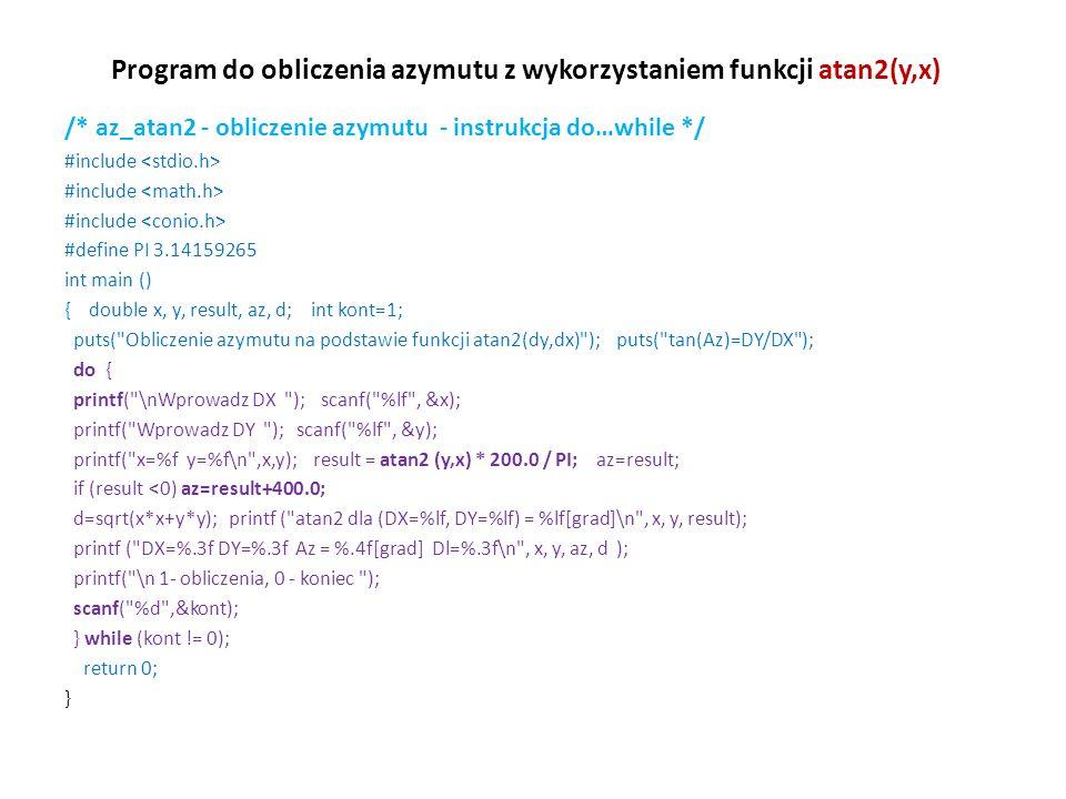 Program do obliczenia azymutu z wykorzystaniem funkcji atan2(y,x)