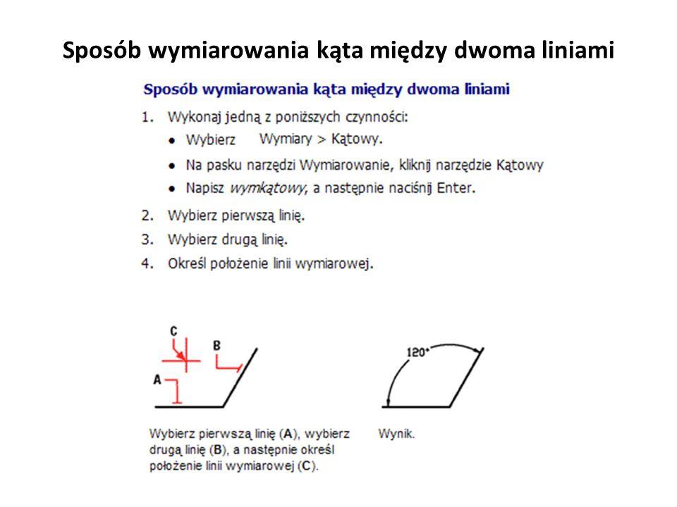 Sposób wymiarowania kąta między dwoma liniami
