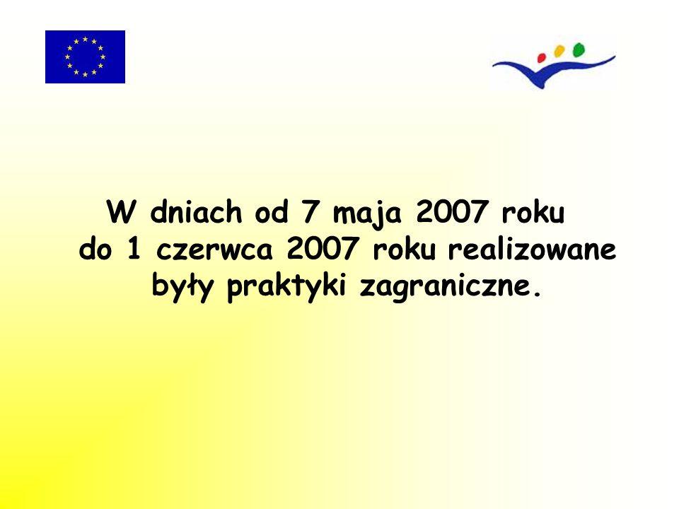 W dniach od 7 maja 2007 roku do 1 czerwca 2007 roku realizowane były praktyki zagraniczne.