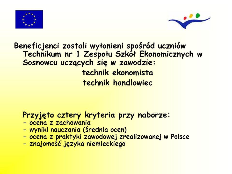 Beneficjenci zostali wyłonieni spośród uczniów Technikum nr 1 Zespołu Szkół Ekonomicznych w Sosnowcu uczących się w zawodzie: