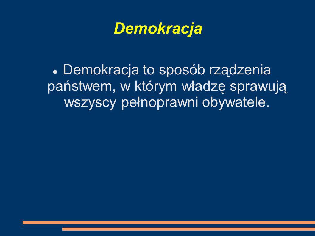 Demokracja Demokracja to sposób rządzenia państwem, w którym władzę sprawują wszyscy pełnoprawni obywatele.