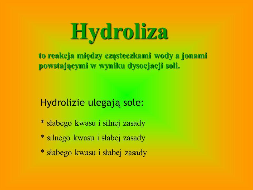 Hydroliza Hydrolizie ulegają sole: