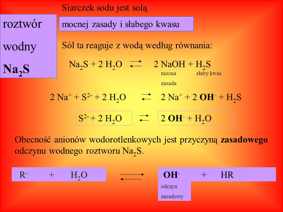 roztwór wodny Na2S Siarczek sodu jest solą