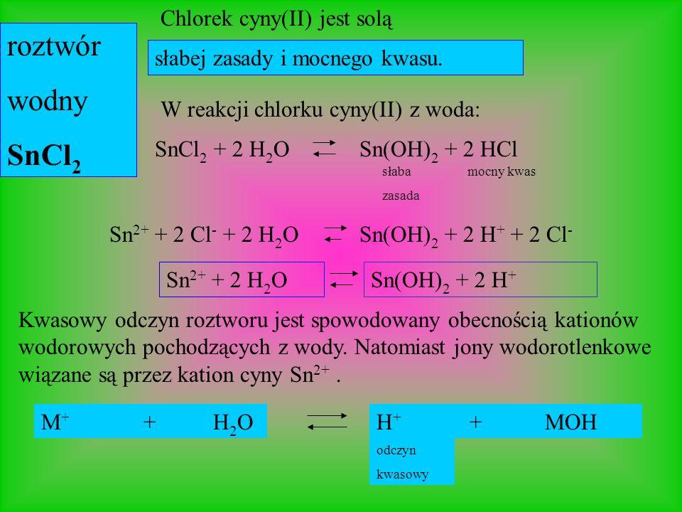 roztwór wodny SnCl2 Chlorek cyny(II) jest solą