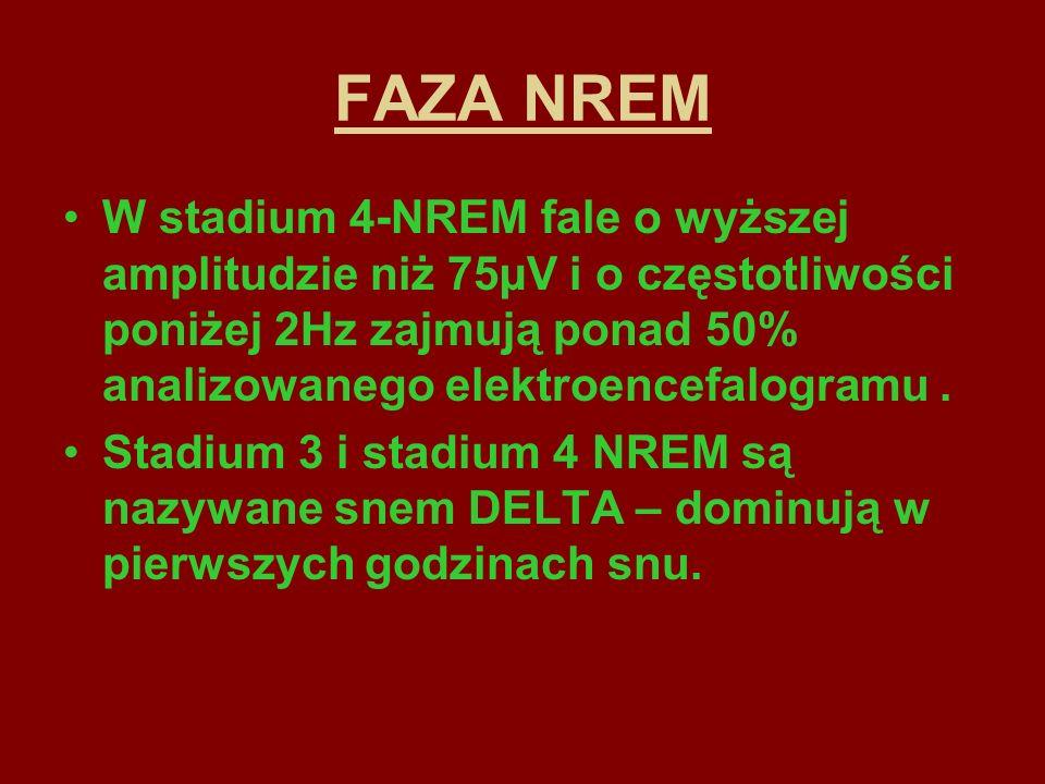 FAZA NREM W stadium 4-NREM fale o wyższej amplitudzie niż 75µV i o częstotliwości poniżej 2Hz zajmują ponad 50% analizowanego elektroencefalogramu .