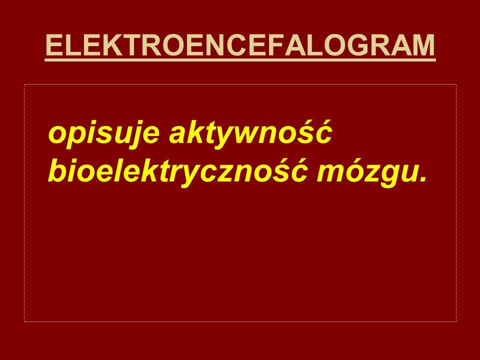 ELEKTROENCEFALOGRAM opisuje aktywność bioelektryczność mózgu.